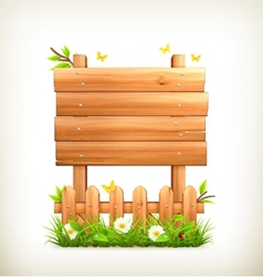 Wooden sign in grass vector image vector image
