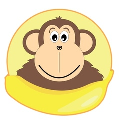 Childrens of a monkey with a banana vector image