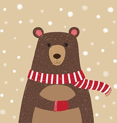 Hand drawn of cute bear wearing red scarf vector image vector image