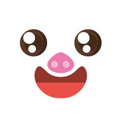 Kawaii face piggy animal expression icon vector