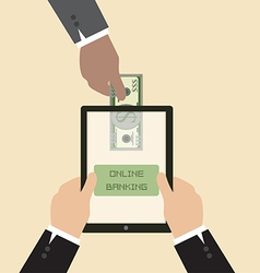 Online banking concept Send money via smart phone vector image