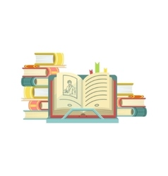 Open book with piles of books on the background vector
