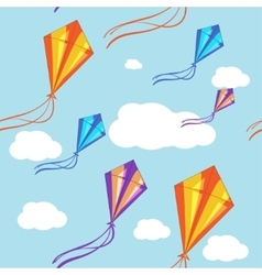 Seamless background with colorful kites in vector image vector image