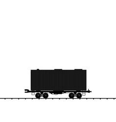 wagon cargo railroad train black transportation ic vector image vector image