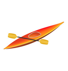 canoe in orange design with paddle vector image