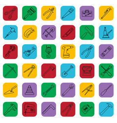 construction tools outline icons set on a color vector image