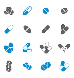 Medical pills icons set collection vector image vector image
