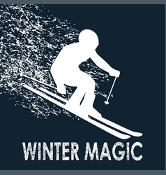skier -winter magic vector image vector image