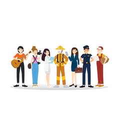 a group of different professions flat design vector image vector image