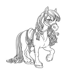 beautiful horse with lush mane harnessed to a vector image
