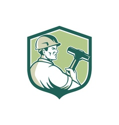 Demolition Worker Sledgehammer Shield Retro vector image vector image