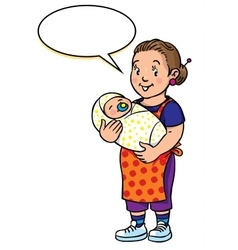 Funny mother or nanny with baby vector