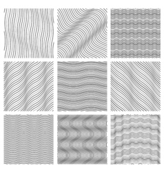 Geometric wavy pattern set curved lines streep vector