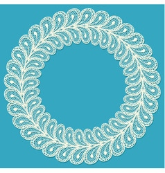 Lacy frame on blue background vector image vector image