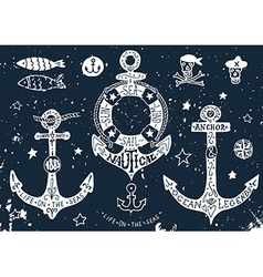 Set of hand drawn anchors with lettering on vector image
