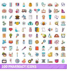 100 pharmacy icons set cartoon style vector