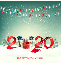 2020 new year background with gift boxes and vector image