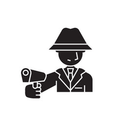 armed man black concept icon armed man vector image