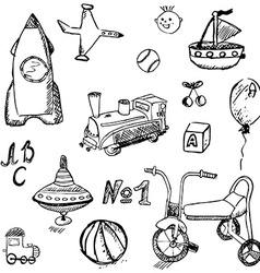 Baby child toys set hand drawn sketch isolated vector