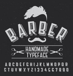 barber handmade typeface poster vector image