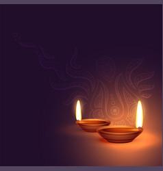 Beautiful two diwali diya background vector