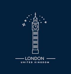 big ben tower london line art vector image