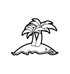 Black thick contour of island with two palms vector