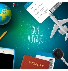Bon voyage planning vacation trip vector