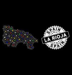 Bright mesh network la rioja spain map with vector