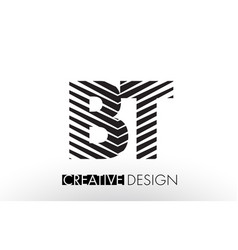 Bt b t lines letter design with creative elegant vector