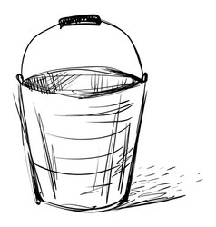 bucket drawing on white background vector image