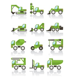 Building vehicles icons set vector image