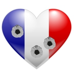 Bullet holes in heart of French flag vector