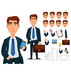 Business man in formal suit cartoon character vector