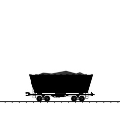cargo coal wagon freight railroad train black tran vector image