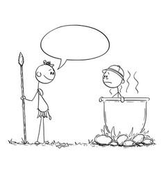 Cartoon native cannibal man saying something vector