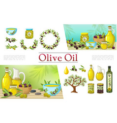 Cartoon natural olive elements collection vector