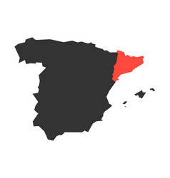 Catalonia region in a map of spain vector