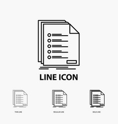 Check filing list listing registration icon in vector