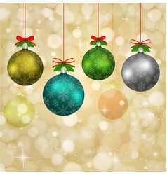 christmas balls with red ribbons and elements vector image