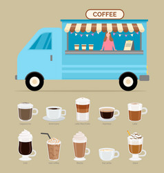coffee shop trailer with seller types beverage vector image
