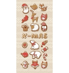 Collection of Christmas cookies vector