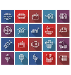 collection square dotted icons food vector image