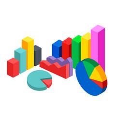 Colorful 3d pie diagram pie chart digital vector
