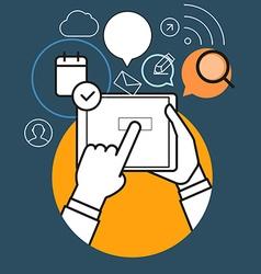 Communicating via modern tablet gadget vector