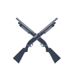 crossed shotguns isolated on white vector image