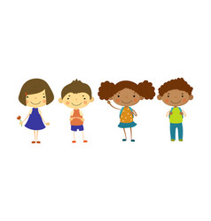 cute children of different nationalities set vector image