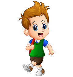 Cute little boy go to school vector