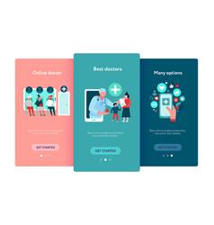 digital medicine mobile screens set vector image