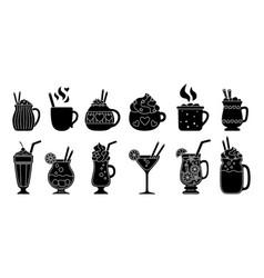 Drink summer flat set coffee glyph cartoon vector